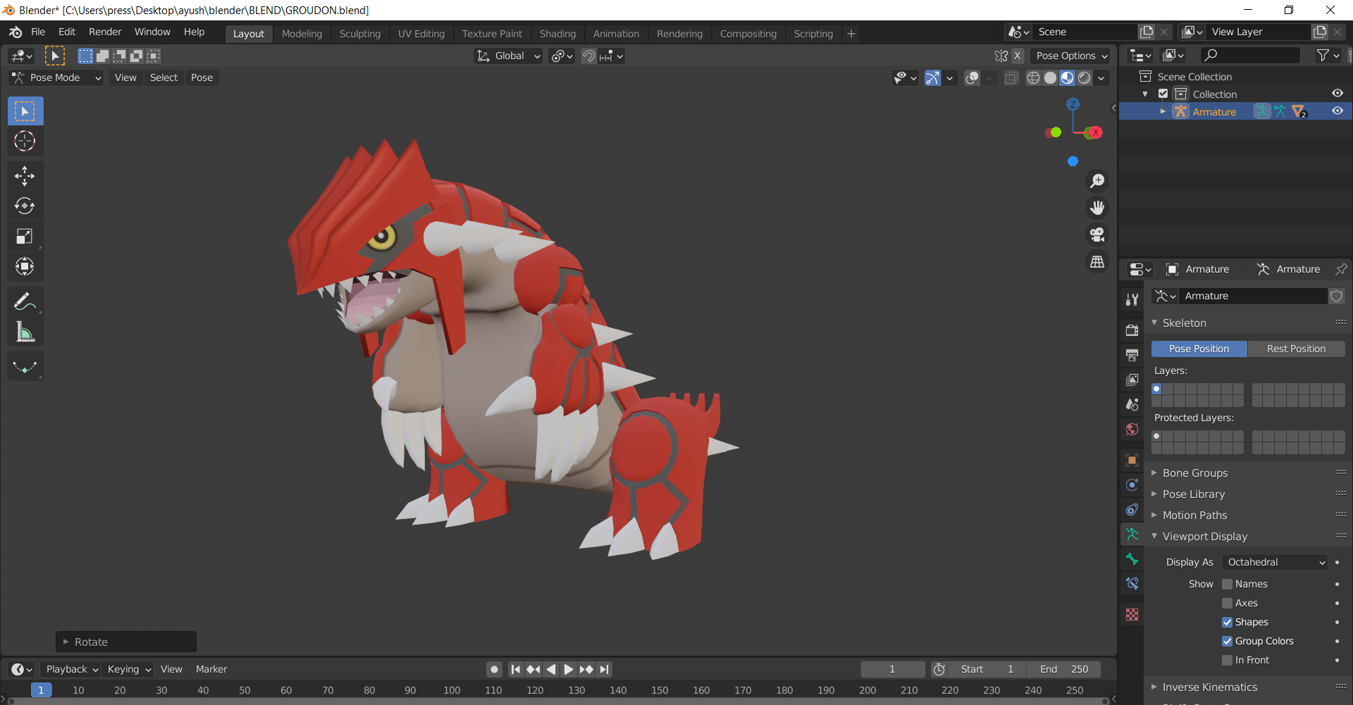Rigged Pokemon groudon (from pokemon omega ruby) preview image 2
